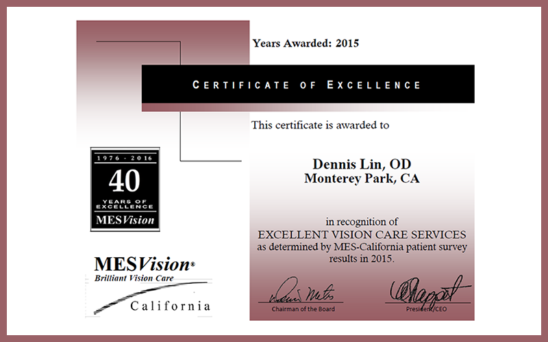 2015 MES Certificate of Excellence
