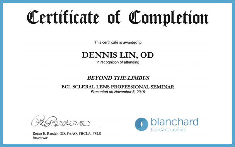 Certificate of Completion Scleral Lens Professional Seminar