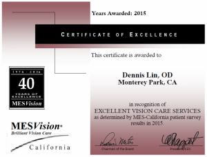 MES Vision Certificate of Excellence in Vision Care Services